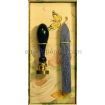 Butterfly Wax Seal Stamp Set w/Sapphire Blue Wax Stick