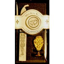 Double Heart Brass Wax Seal Kit w/Silver Wax Stick