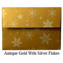 "Stardream Antique Gold Snowflakes - A7 (5-1/4 x 7-1/4"") Envelope"