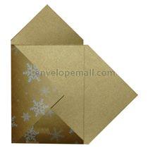 Stardream Antique Gold Silver Snowflake Pochette Invitation 5-1/8 x 7