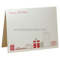 Happy Holidays A2 Folded Designer Card - Stardream Quartz