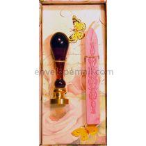 Rose Wax Seal Stamp Set w/Pink Pearl Wax Stick
