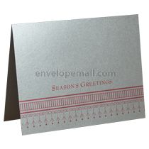 Season's Greetings A2 Folded Designer Card - Stardream Silver 105 lb