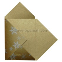 Stardream Antique Gold Silver Snowflake Pochette Invitation 5-1/8 x 7