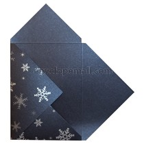 Stardream Lapis Lazuli Silver Snowflake Pochette Invitation 5-1/8 x 7