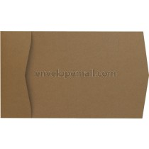 Brown Box Kraft 100 lb Cover - Pocket Invitation A7, 5 x 7""